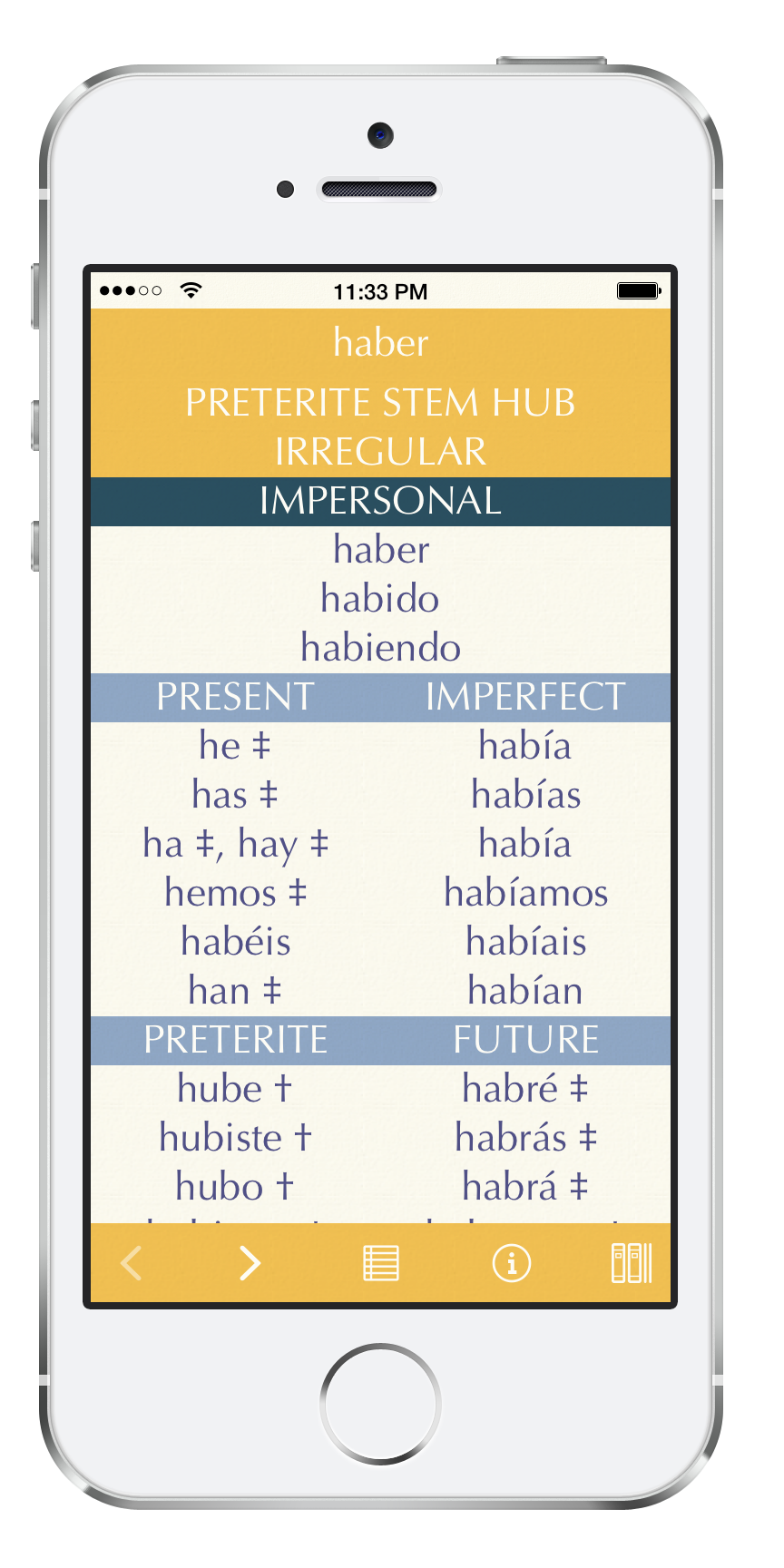 Screenshot of Callionica Conjugations ES - a reference app with over 3000 Spanish verbs and their inflected forms.